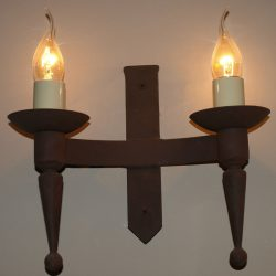 Hand forged wrought iron Aldwick double smooth point and ball wall light