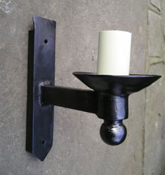 Hand forged wrought iron Pagham single ball only wall light
