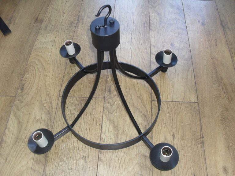 Hand forged wrought iron Pagham ball only 4 light chandelier
