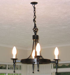 Hand forged wrought iron Aldwick smooth point and ball 4 light chandelier