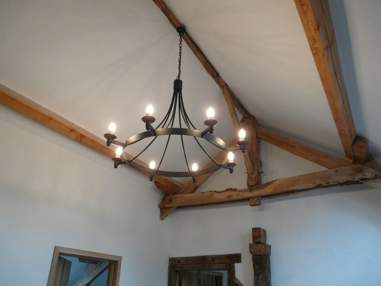 Hand forged wrought iron Pagham ball only 8 light chandelier