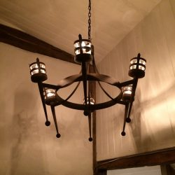 Hand forged wrought iron Portcullis 6 light chandelier