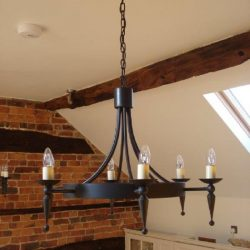 Hand forged wrought iron Prinsted faceted point and ball 6 light chandelier