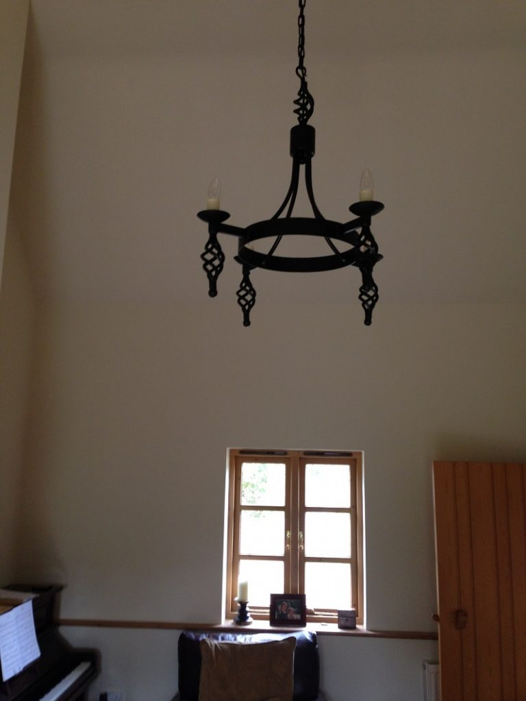 Hand forged wrought iron Runcton cage and ball 4 light chandelier