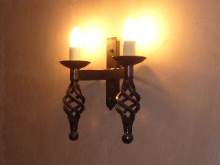 Hand forged wrought iron Runcton double cage and ball wall light