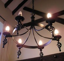 Hand forged wrought iron Runcton cage and ball 6 light chandelier